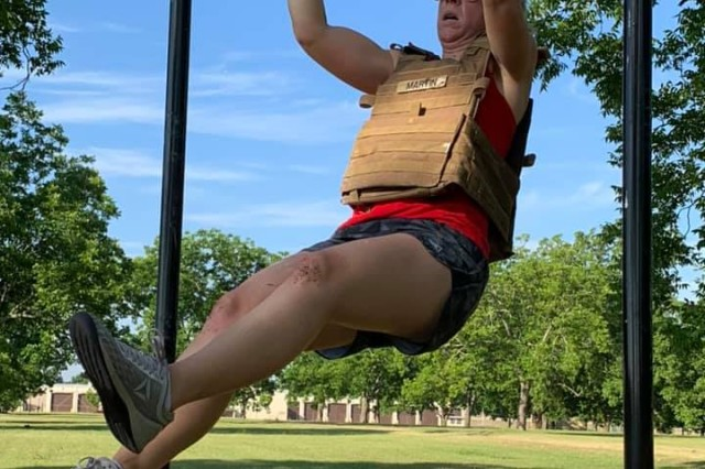 One participant in the 2019 Memorial Day MURPH Challenge, hosted for the first time by the on-post workout group, TCB CrossFit, completes a pull-up. Fort Jackson participants were also tasked with completing two one-mile runs, 200 push-ups and 100 pull-ups May 27