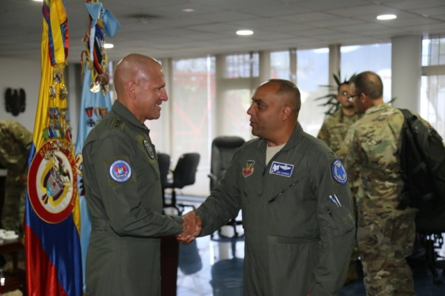 U.S. Air Force Col. Akshai Gandhi, South Carolina Air National Guard, 169th Fighter Wing commander, traveled to the Republic of Colombia as part of the South Carolina National Guard's State Partnership Program, May 2019. The South Carolina National Guard and the Republic of Colombia have a long-standing relationship through the National Guard's State Partnership Program, formalized in July 2012, that focuses on sharing ideas and practices between the partner nations' militaries.