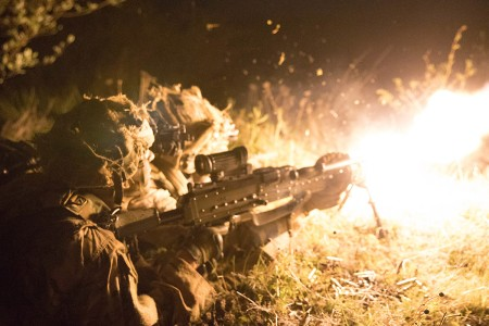 A group of 173rd Airborne Brigade paratroopers fires a M240 Bravo machine gun at enemy forces on the objective during Exercise Immediate Response at Vojarna Josip Jovic Airbase, Udbina, Croatia, May 16, 2019. Exercise Immediate Response is a multinational exercise co-led by Croatian Armed Forces, Slovenian Armed Forces, and U.S. Army Europe.