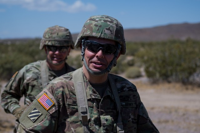 Brig. Gen. Anthony V. Mohatt, commander, Kansas Army National Guard, meets with Soldiers from the 891st Engineer Battalion's 242nd Engineer Company and 772nd Engineer Mobility Augmentation Company June 1, 2019, at the National Training Center in Fort Irwin, California. The two Kansas Army National Guard companies are supporting the 116th Cavalry Brigade Combat Team's National Training Center rotation. Units from 13 Army National Guard states and territories are supporting the 116th CBCT's rotation May 24 through June 20. The rotation builds unit and Soldier proficiency to provide combatant commanders with a trained and ready force capable of fighting and winning our nation's wars.