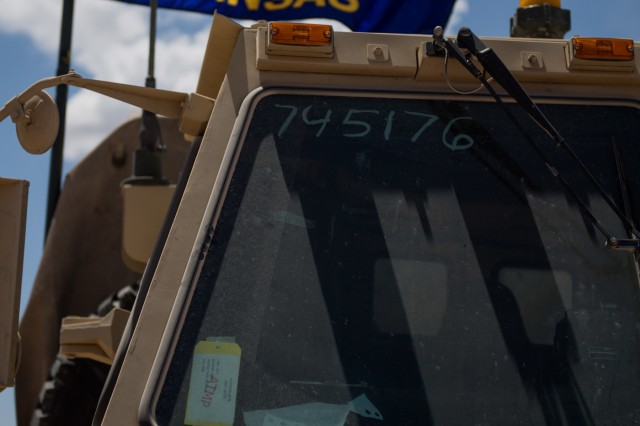 The Kansas state flag flies above the 242nd Engineer Company's tactical operations center June 1, 2019 at the National Training Center in in Fort Irwin, California. The 242nd Engineer Company is one of two Kansas Army National Guard companies supporting the 116th Cavalry Brigade Combat Team's National Training Center rotation. Units from 13 Army National Guard states and territories are supporting the 116th CBCT's rotation May 24 through June 20. The rotation builds unit and Soldier proficiency to provide combatant commanders with a trained and ready force capable of fighting and winning our nation's wars.