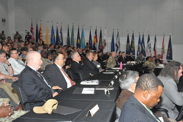 Attendees at the Global Integrated Partnership for Communications Security User Information Process and Technology Meeting held at Fort Huachuca, Arizona listen to presentations on Army Communications Security program updates on 7 May 2019.
