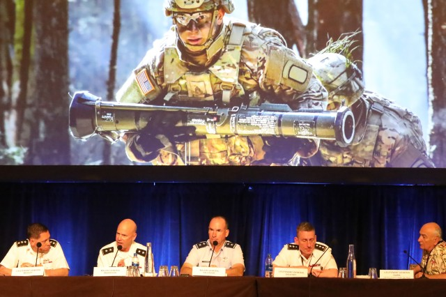 Lt. Gen. Gary Volesky, commander of I Corps, second from the right, and other Army leaders participate in a panel discussion during the Land Forces Pacific Symposium, Honolulu, Hawaii, May 21, 2019. Volesky said more Soldiers will be forward deployed longer in the Indo-Pacific region next year, as part of a new Pacific Pathways effort to allow units to build stronger partnerships.