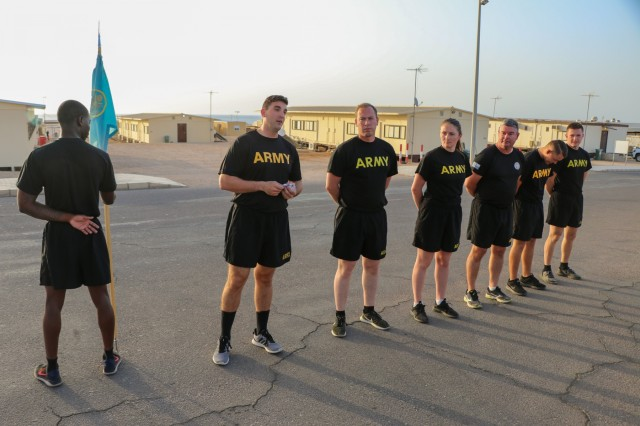 U.S. Army Capt. Dillon Lynch, commander of Headquarters Company, Task Force Sinai (TFS,) recognizes Soldiers for completion of their tours in the Multinational Force and Observers at South Camp, Egypt, June 2, 2019. TFS Soldiers come from all three components of the Army: the Regular Army, the Army National Guard and the Army Reserve.