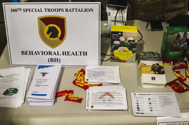Promotional literature was available at the redeployment stressors and sleep hygiene station during the safety rodeo hosted by the Headquarters and Headquarters Company, 300th Special Troops Battalion, 300th Sustainment Brigade, 4th Expeditionary Sustainment Command, on Camp Arifjan, Kuwait, May 7, 2019. This event serves to educate Soldiers on how to minimize and prevent accidents or injuries and to increase safety awareness. (U.S. Army Reserve photo by Sgt. Christopher Lindborg)