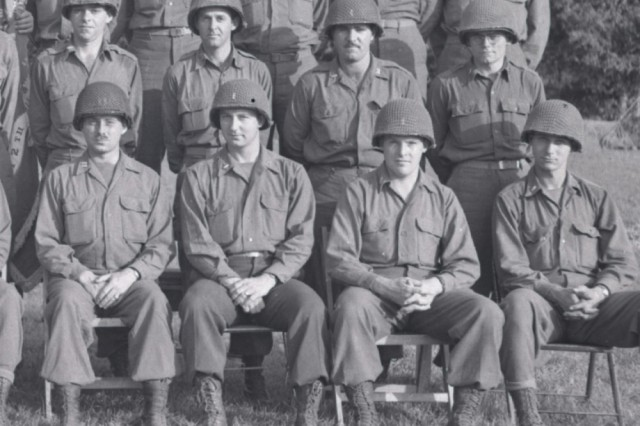 First Lt. Clinton S. Learn and Capt. Grandison K. Bienvenu is included in this portion of a photograph taken of the 112th Combat Engineer Battalion officers in France in August 1944. Learn is seated, second, from the right and Bienvenu is standing second from the left. The Ohio National Guard Soldiers were among more than 160,000 Allied troops who landed along a 50-mile stretch of beach in Normandy on D-Day.