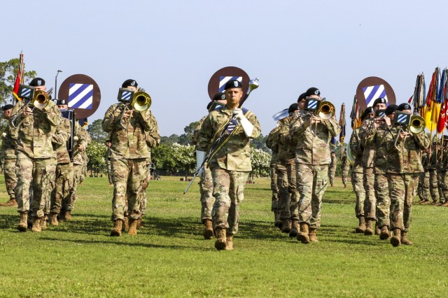 The 3rd Infantry Division Band executes Sound Off during the division change of command ceremony at Cottrell Field on Fort Stewart, Ga. June 3, 2019(U.S. Army photo by Staff Sgt. Brian K. Ragin Jr)
