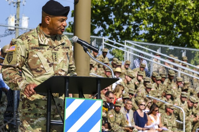 Gen. Michael X. Garrett, commanding general of U.S. Army Forces Command(FORSCOM) speaks during the 3rd Infantry Division change of command ceremony at Cottrell Field on Fort Stewart, Ga. June 3, 2019. (U.S. Army photo by Staff Sgt. Brian K Ragin Jr)