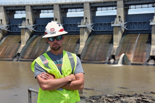 Jared Goins, a maintenance worker at the U.S. Army Corps of Engineers, Tulsa District's Elk City, Big Hill, Fall River and Toronto Dam, monitors the dam's infrastructure June 4, to ensure it continues to perform as designed. The Tulsa District is storing flood water and making release decisions, as needed, to mitigate the impact of flooding downstream of dams brought on by several days of heavy rains. They will continue working to lessen the impacts of the flooding in the days and weeks ahead.