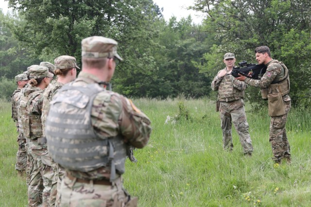 U.S. military police from the 220th Military Police Company of the Colorado National Guard train with MPs from the Slovenian Armed Forces near Divaca, Slovenia June 5, 2019. The joint marksmanship training was a side addition to exercise Astral Knight 19. U.S.