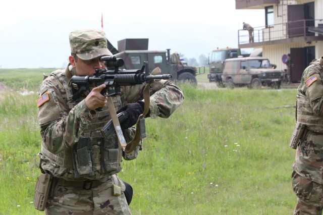 Spc. Roberto Terrazas, a military policeman from the 220th Military Police Company of the Colorado National Guard, practices marksmanship drills near Divaca, Slovenia June 5, 2019. The 220th held joint training with the Slovenian Armed Forces as a side addition to exercise Astral Knight 19.
