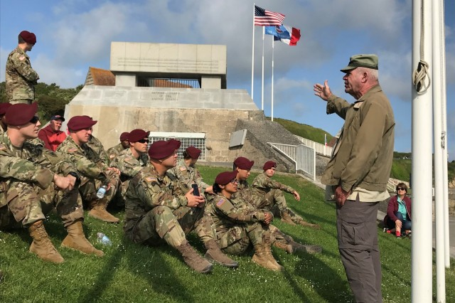 Keith Nightengale, a retired #USArmy colonel, talks to Soldiers from  United States Army Civil Affairs and Psychological Operations Command (Airborne) June 3 in Normandy, France in preparation for the D-Day 75th anniversary commemoration. (Photo courtesy Staff Sgt. Jeffrey Holland, 325th Tactical Psychological Operations Company)