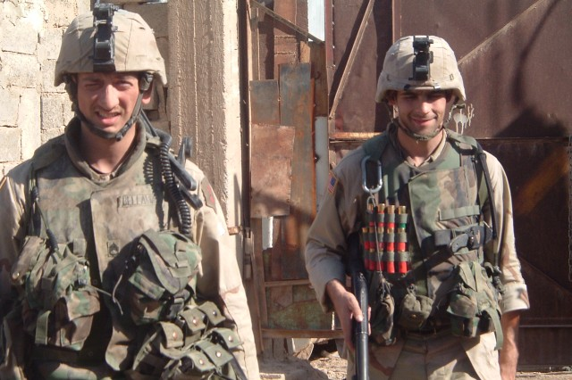 Staff Sgt. David Bellavia (left) in Iraq.