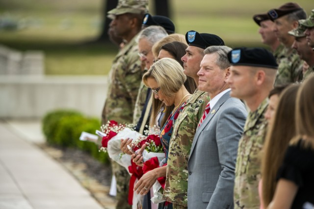 FORT BENNING, Ga -- Col. Matthew Scalia assumed command of U.S. Army Garrison Fort Benning from Col. Clinton W. Cox during a change of command ceremony June 5 on York Field. (U.S. Army photo by Patrick Albright, Maneuver Center of Excellence, Fort Benning Public Affairs)