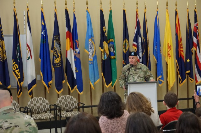 The outgoing commander, Lt. Col. Jeffrey Ignatowski, provides farewell remarks during the Letterkenny Munitions Center Change of Command Ceremony, June 6.