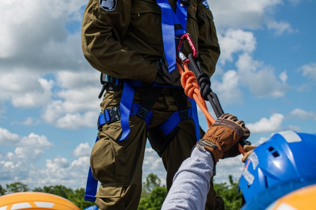 Israeli Lt. Col. Yair Pinto, IDF National Rescue Unit prepares to rope down a tower during a round-robin training exercise for United Front VIII at Camp Atterbury May 31, 2019. In a live-dynamic environment, Soldiers and Airmen train on the extraction of civilians from collapsed buildings, increasing their knowledge of rope rescue, shoring techniques, and subterranean rescue operations