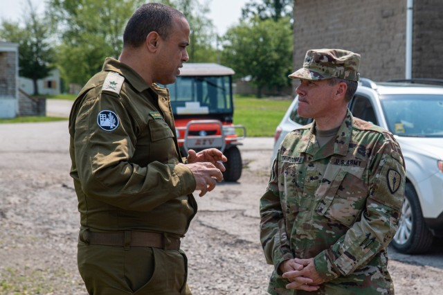 IDF Maj. Gen. Tamir Yadai. Commander of Homefront Command, and Brig. Gen. Patrick Thibodeau, commander of 81st Troop Command have a conversation during a command visit for United Front VIII at Muscatatuck Urban Training Center June 2, 2019.