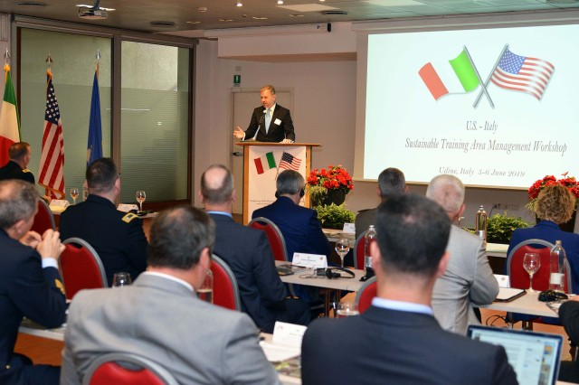 John R. Crosby, Consul for Political and Economic Affairs, U.S. Consulate Milan, addresses participants at the Sustainable Training Area Management workshop hosted by U.S. Armed Forces Europe in Udine, Italy, June 5.