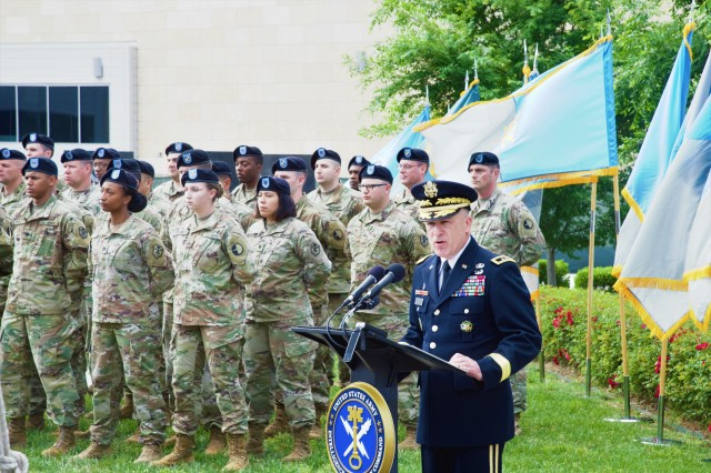 Maj. Gen. Gary W. Johnston, commanding general, U.S. Army Intelligence and Security Command (INSCOM) speaks during INSCOM's Memorial Day Ceremony at Fort Belvoir, Virginia, May 23.  INSCOM and its predecessor organization, the Army Security Agency, have memorials at the Nolan Building in honor of military intelligence Soldiers and officers who have lost their lives in combat and annually honors their brave sacrifices. (U.S. Army photo by Nathan Becker)