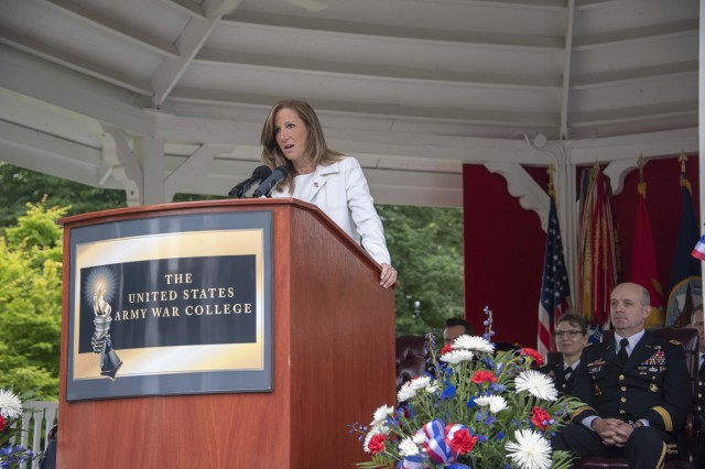U.S. Army War College graduation speaker Cathy Engelbert, who retired as the CEO of Deloitte this week, drew on her experience leading one of the largest professional services organizations in the United States with more than 100,000 professionals. [She will next apply her leadership as the first commissioner of the Women's National Basketball Association, in July.]