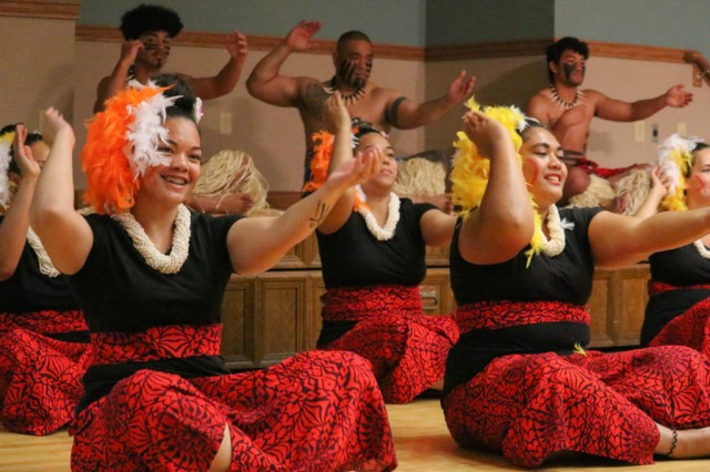 Dancers from the Polynesian Dance Troupe perform at the annual Asian American and Pacific Islander Heritage Month Observance May 31.