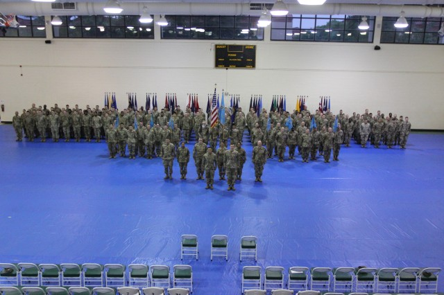 FORT GORDON, Ga. -- Lt. Col. Wayne Sanders, the commander of the 782nd Military Intelligence (MI) Battalion (Cyber), stands in front of his battalion formation at the Cyber Fitness Center on June 7.