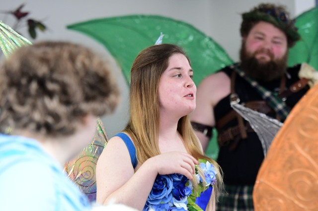 Fairy princess Titania, played by Mackenzie Heuer-Hendren, accuses Oberon (right), played by Patrick Alred, of being jealous of her and her fairy train.
