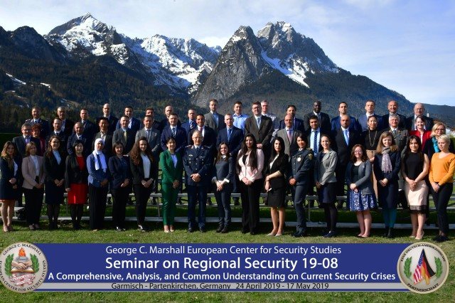 GARMISCH-PARTENKIRCHEN, Germany -- Thirty-eight security professionals from 23 nations attended the Seminar on Regional Security from April 24 to May 17 at the George C. Marshall European Center for Security Studies here. (DOD photo by U.S. Army Master. Sgt. Corey Dennis/RELEASED)
