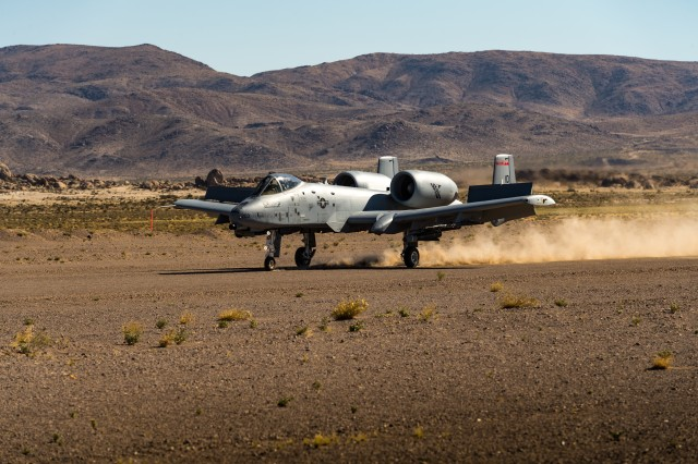 An A-10 Thunderbolt II assigned to the 190th Fighter Squadron, Idaho Air National Guard executes an austere landing and take off on the Freedom Landing Strip, June 6-7, 2019, at the National Training Center, Fort Irwin, California. The capability to land at an austere location enables pilots and ground forces to better integrate their combat capabilities. The 116th Cavalry Brigade Combat Team is training at the National Training Center May 24 through June 20 to prepare for its wartime mission. The rotation builds unit and Soldier proficiency to provide combatant commanders with a trained and ready force capable of fighting and winning our nation's wars.