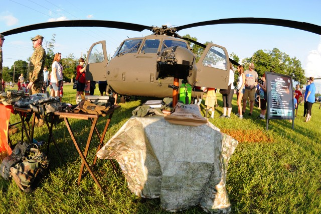 People check out the UH-60 Black Hawk static display at last year's Freedom Fest.