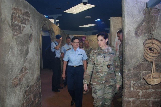 During a visit to the Medical Education and Training Campus, on June 5, 2019, Maj. Gen. Gesine Kruger (Center), Commander for the German Bundeswehr Medical Academy received a brief and tour of combat medic simulated trauma scenario training from Lt. Col. Nadia Pearson (Right), Department Chair, Combat Medic Training, Health Readiness Center of Excellence.