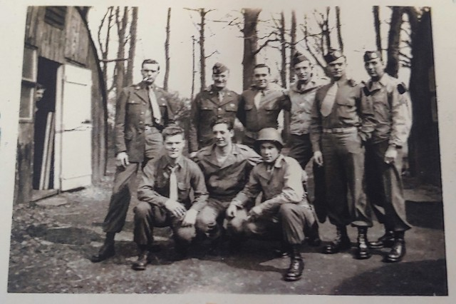 Then Army Sgt. Daniel McBride (back row, 2nd from left), assigned to the 502nd Infantry Regiment, 101st Airborne Division, poses with his Army buddies prior to their D-Day jump into France, circa Spring 1944.
