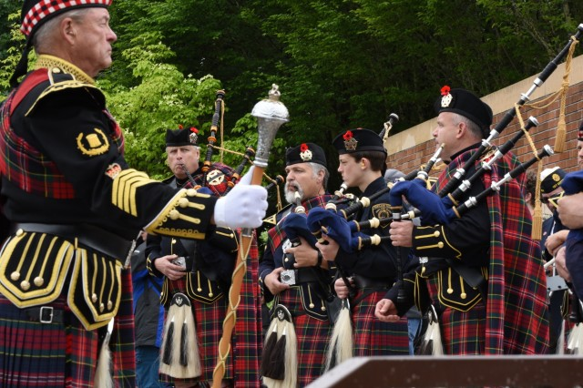 Bagpipers take part in a Memorial Day ceremony at the Willamette National Cemetery, Portland, Oregon, May 27.