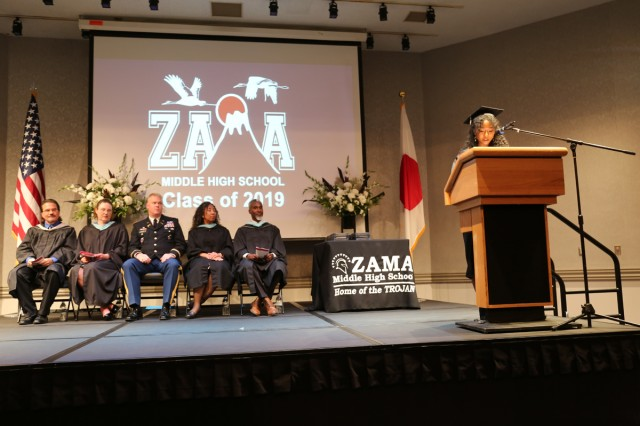 Matrika Franklin, the salutatorian for the Zama American High School graduating class of 2019, delivers a speech during the commencement ceremony June 6 at the Camp Zama Community Club.