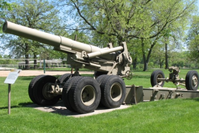 The M115 howitzer displayed at Memorial Field was overhauled at Rock Island Arsenal, sent to Iran, captured by Iraq during the Iran-Iraq War, and then captured by U.S. forces during Operation Desert Storm and returned to RIA.