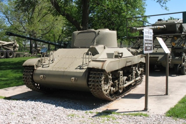 The Locust tank, shown here on display at Memorial Field, was plagued with design flaws and was too heavy to carry out its intended mission.