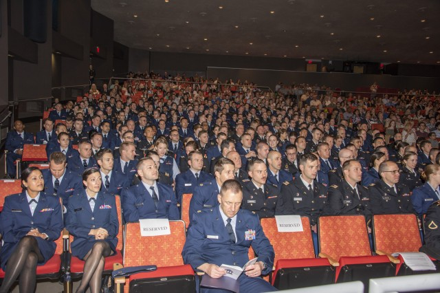 The 2019 San Antonio Uniformed Services Health Education Consortium graduates wait for the ceremony to begin June 7, 2019 at the Lila Cockrell Theatre in downtown San Antonio. The auditorium was filled with family, friends and faculty members as the 205 physicians and 23 allied health professionals graduated.