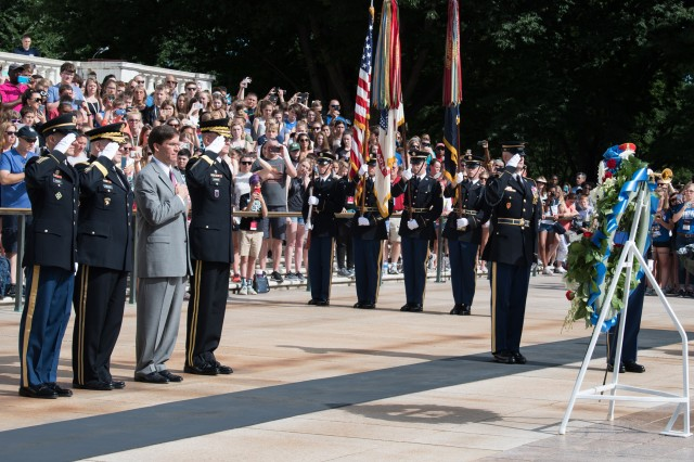 Secretary of the Army Mark T. Esper joins Army Chief of Staff Gen. Mark A. Milley and Sgt. Maj. of the Army Daniel A. Dailey in a full honors wreath-laying ceremony at the Tomb of the Unknowns at Arlington National Cemetery, Arlington, Va., June 14, 2018. Senior leaders will again lay a wreath June 14, 2019, to pay tribute to the Army's 244th birthday.