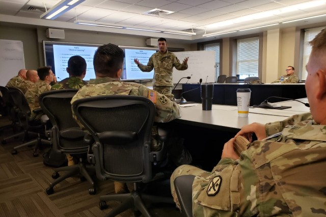 LTC Juan Carlos Kaplan, WHINSEC FSDD instructor, facilitates during the Foundations of Instruction - Experiential Learning block of instruction of the Common Faculty Development Instructor Course. This is the first time WHINSEC instructors offer the CFD-IC in English.