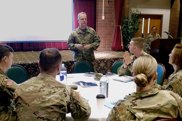 Madigan Commander Col. Thomas Bundt, discusses the role and importance of the noncommissioned officer at Madigan Army Medical Center's first NCO Offsite conference June 6 at the Club at McChord Field on Joint Base Lewis-McChord, Wash.