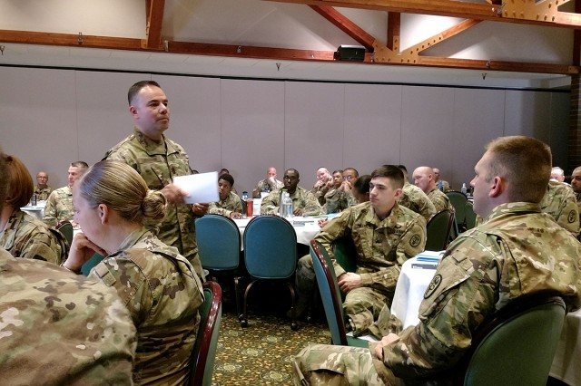 Madigan's senior enlisted advisor, Command Sgt. Maj. Victor Laragione, discusses the role and importance of the noncommissioned officer at Madigan Army Medical Center's first NCO Offsite conference June 6 at the Club at McChord Field on Joint Base Lewis-McChord, Wash.
