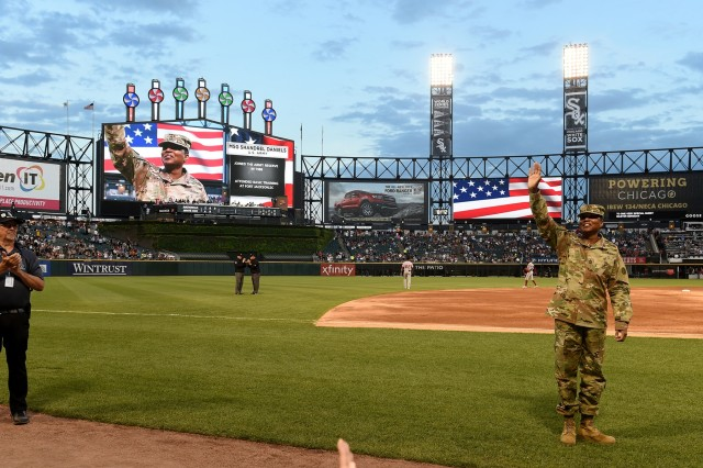 Master Sgt. Shandrel Daniels receives an honor during the Chicago White Sox vs Washington Nationals game at Guaranteed Rate Field, June 11, 2019. Daniels attended the game to be honored during the 'Hero of the Game' recognition there. Daniels, who has served for 31 years with two deployments, was honored in front of a crowd of 17,000. (U.S. Army Reserve photo by Sgt. David Lietz)