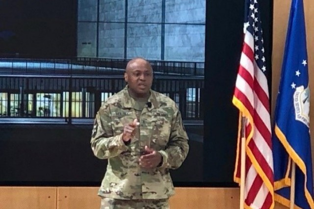 Chief Warrant Officer 3 Johnathan Holsey addresses Advocates at the 2019 AW2 Annual Training in Colorado Springs, June 5, 2019. (Photo by MaryTherese Griffin)
