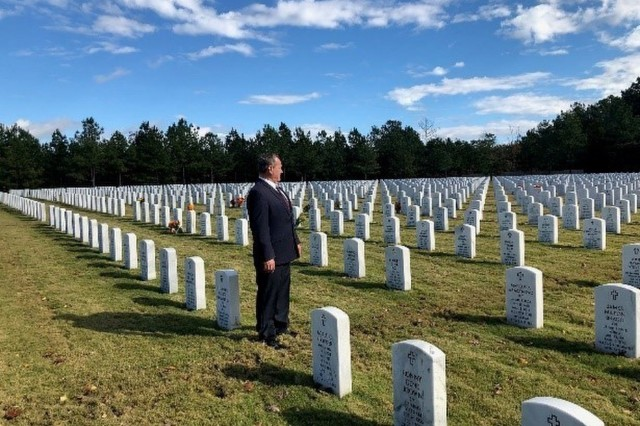 Retired U.S. Army Sgt. Maj. Daniel McNeal looks out over the Georgia National Cemetery in Canton, Georgia.May 20, 2019. (Courtesy photo, Daniel McNeal)