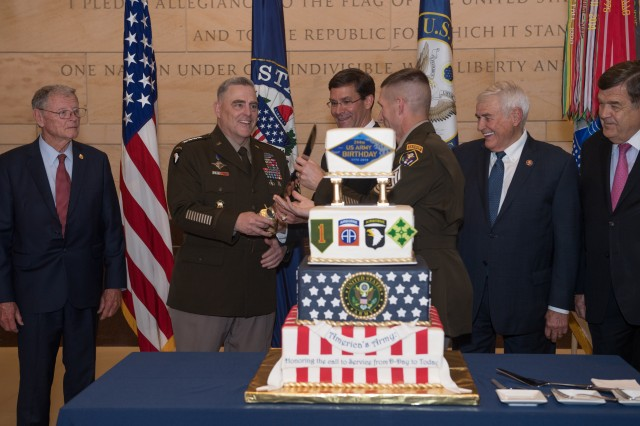 Army leaders and members of Congress cut a cake in honor of the 244th Army Birthday at the Capitol Building in Washington, D.C., June 12, 2019.
