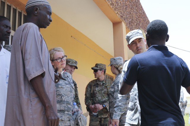 Senegalese and Vermont National Guard medical care professionals take a tour of the Regional Center Hospital at Tambacounda, Senegal, on April 9. Vermont Guardsmen are working with their Senegalese counterparts to share best practices while providing treatment as part of a Medical Readiness Training Exercise in conjunction with the State Partnership Program.