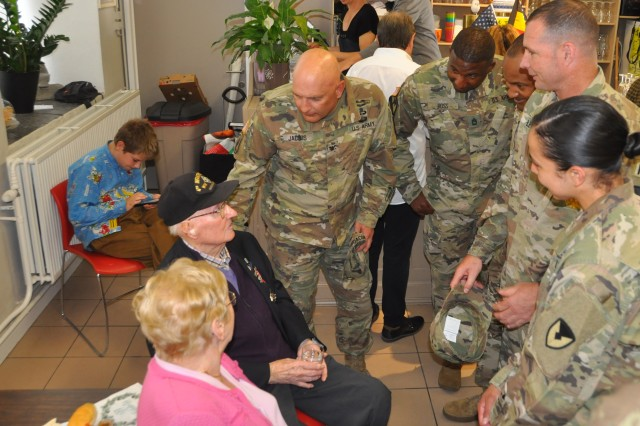 Phillips' family members and friends in addition to U.S. Army Garrison Benelux Soldiers and leaders celebrated the 95th birthday of the last American veteran from World War II during a special ceremony, June 10, 2019, in Binche, Belgium. During the event, Phillips spoke to Soldiers about his experiences in the war.
