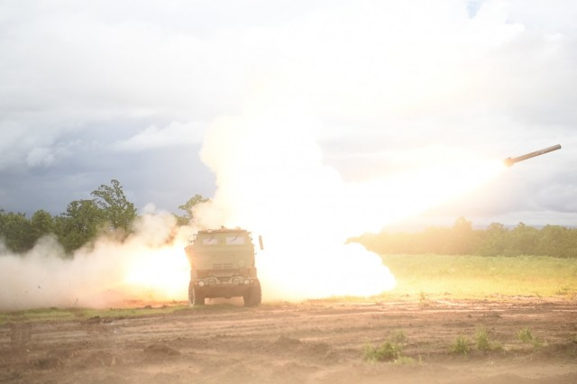 Artillerymen with the 1st Battalion, 158th Field Artillery Regiment, 45th Field Artillery Brigade, Oklahoma Army National Guard, fire their High Mobility Artillery Rocket System (HIMARS) during a live-fire exercise at Fort Chaffee, Arkansas, June 6, 2019. The 45th FAB, along with the support of 90th Troop Command, is participating in the annual Western Strike exercise as part of the unit's two-week annual training.