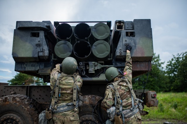 Artillerymen with 1st Battalion, 158th Field Artillery Regiment, 45th Field Artillery Brigade, Oklahoma Army National Guard, prepare their High Mobility Artillery Rocket System (HIMARS) for a live fire exercise at Fort Chaffee, Arkansas, June 6, 2019. The 45th FAB, along with the support of 90th Troop Command, is participating in the annual Western Strike exercise as part of the unit's two-week annual training.