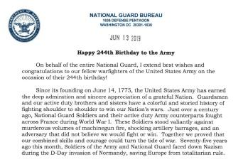National Guard Bureau chief to Army: Happy birthday!